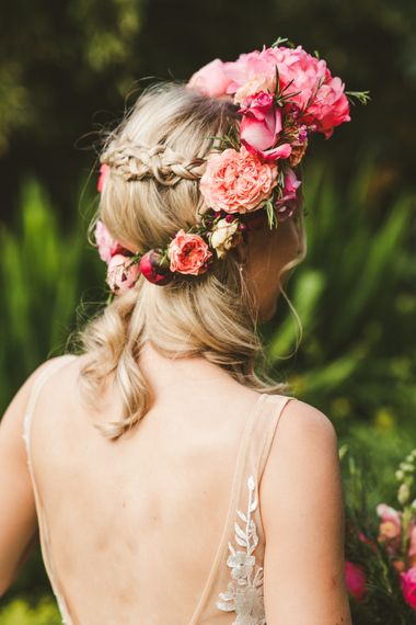 Bridal Braids and Pink Flower Crown | Colourful Wedding Fiesta at Abbotsbury Wedding in Weymouth, Dorset | Photography by Paul Underhill.
