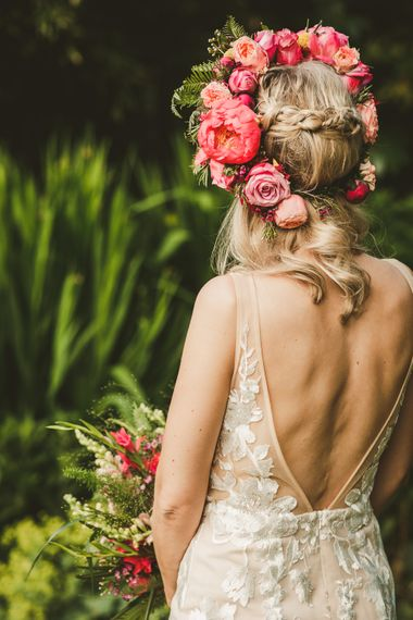 Stunning Back of Stevie Dress for Made with Love | Pink Flower crown by Concept Flowers | Colourful Wedding Fiesta at Abbotsbury Wedding in Weymouth, Dorset | Photography by Paul Underhill.