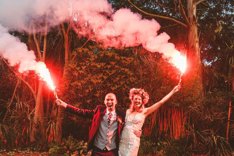 Pink Smoke Grenade | Colourful Wedding Fiesta at Abbotsbury Wedding in Weymouth, Dorset | Photography by Paul Underhill.