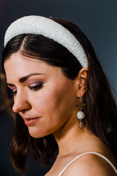 Glitter headband and dangly earrings bridal accessories