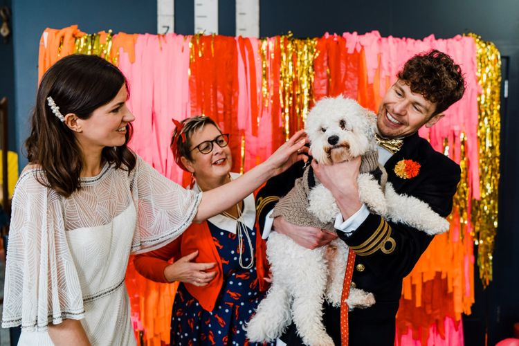 Pet cockapoo at wedding ceremony