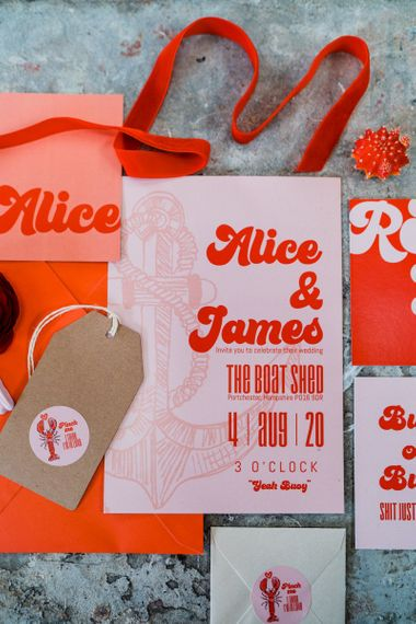 Retro red and pink wedding stationery suite