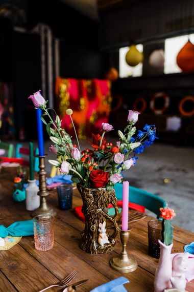 colourful wedding theme with bright candles and flowers