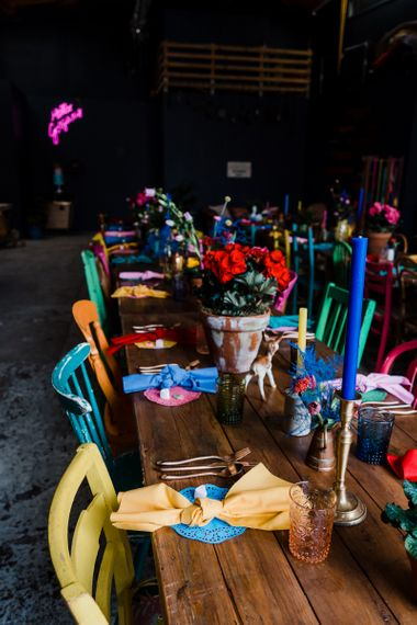 colourful wedding theme table decor for boat shed reception
