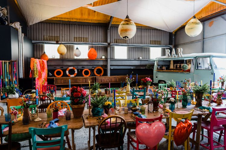 Boat shed styled reception with colourful wedding theme