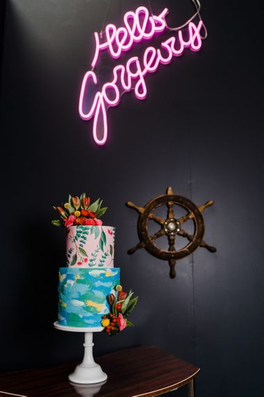 Neon wedding sign and cake for colour wedding theme