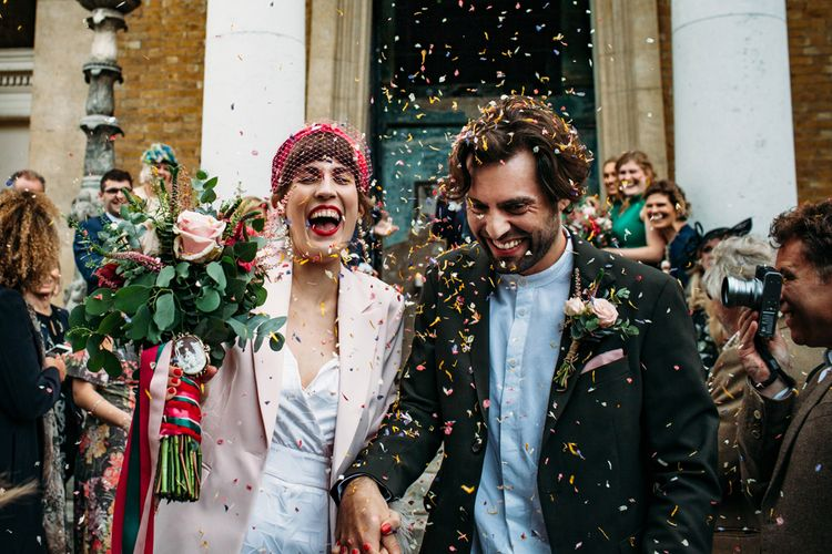 Confetti Cannon | Wedding Ceremony Confetti Exit | Joana Bongard Photography