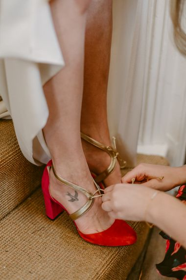 Red Wedding Shoes By Faber Novella // Minimalist Wedding Dress By Bon Bride // Brixton East Wedding // Chris Adnitt Events // Millar Cole Photography // Basque Country Style Catering For Wedding