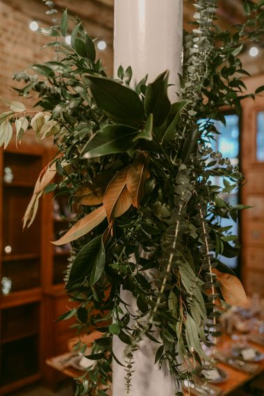 Foliage Installation For Wedding // Minimalist Wedding Dress By Bon Bride // Brixton East Wedding // Chris Adnitt Events // Millar Cole Photography // Basque Country Style Catering For Wedding