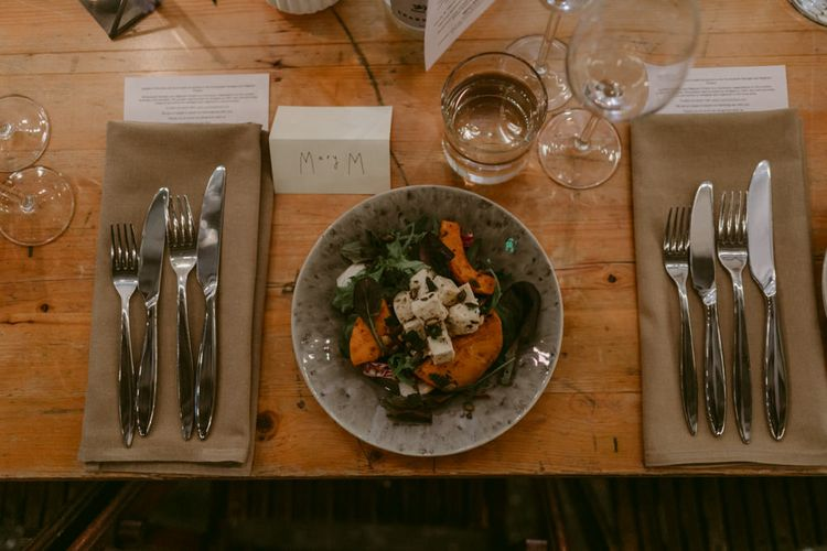Basque Style Wedding Food // Minimalist Wedding Dress By Bon Bride // Brixton East Wedding // Chris Adnitt Events // Millar Cole Photography // Basque Country Style Catering For Wedding