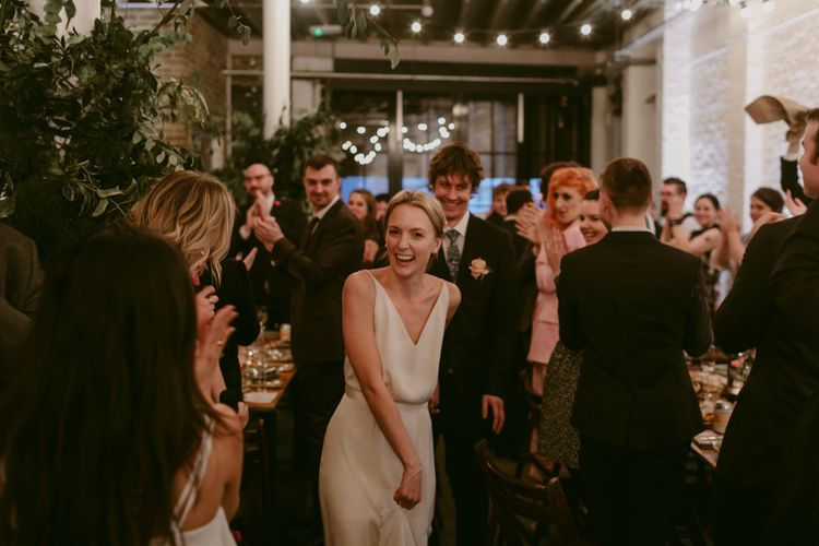 Minimalist Wedding Dress By Bon Bride // Brixton East Wedding // Chris Adnitt Events // Millar Cole Photography // Basque Country Style Catering For Wedding