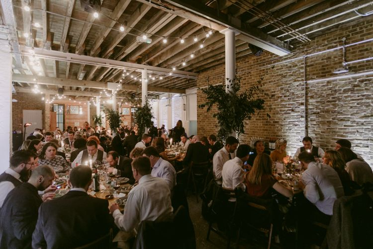 Warehouse Wedding Space // Minimalist Wedding Dress By Bon Bride // Brixton East Wedding // Chris Adnitt Events // Millar Cole Photography // Basque Country Style Catering For Wedding