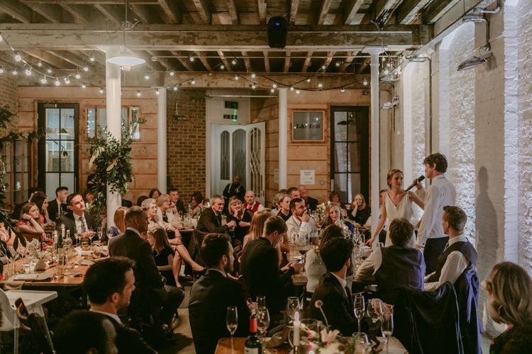 Warehouse Style Wedding // Minimalist Wedding Dress By Bon Bride // Brixton East Wedding // Chris Adnitt Events // Millar Cole Photography // Basque Country Style Catering For Wedding