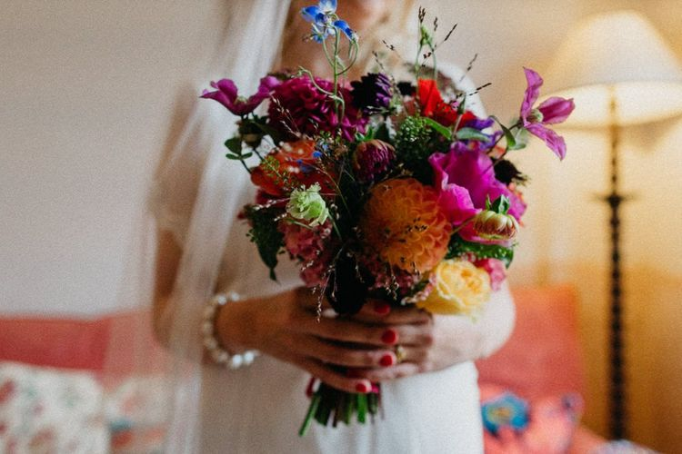 Bright floral bouquet for a colourful kitsch celebration in London