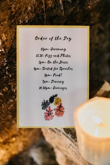 Stationary for London celebration with colourful pine cone wedding decor