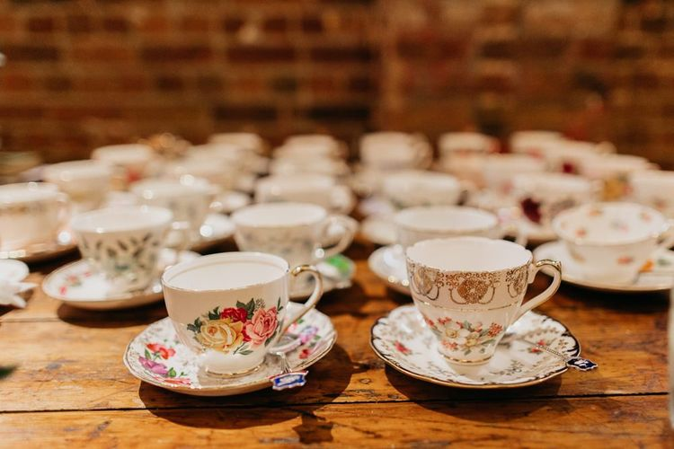 China vintage tea cups for kitsch styled, colourful reception in London