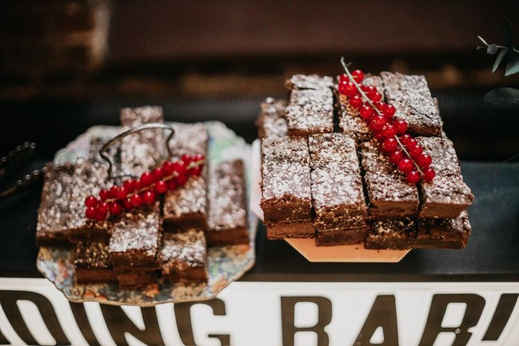 Pudding bar treats at bright and eclectic celebration in London