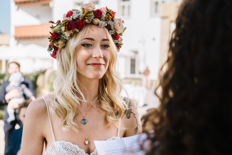 Boho Bride in Flower Crown and Lillian West Wedding Dress