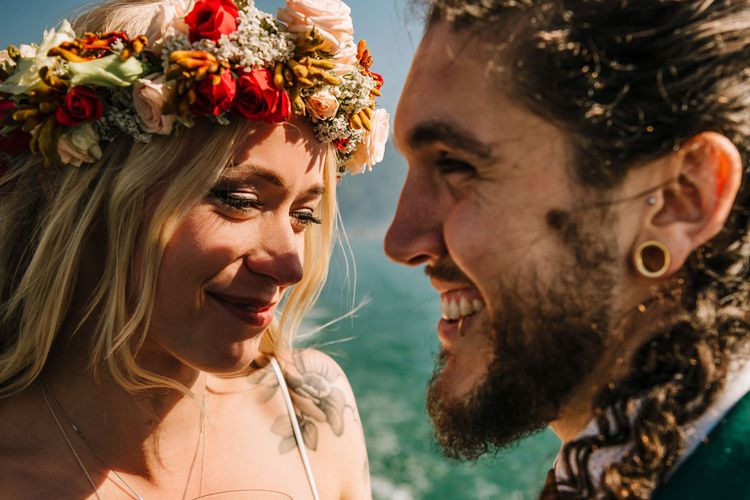 Smiling Boho Bride  with Flower Crown and Bearded Groom