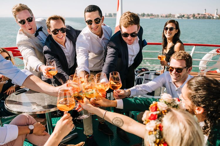 Wedding Guests Enjoying Pimms on Boat Ride on Lake Constance