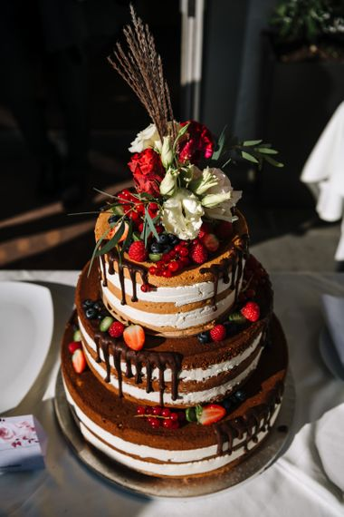 Semi Naked Wedding Cake with Drip Icing, Fruit and Flower Decor
