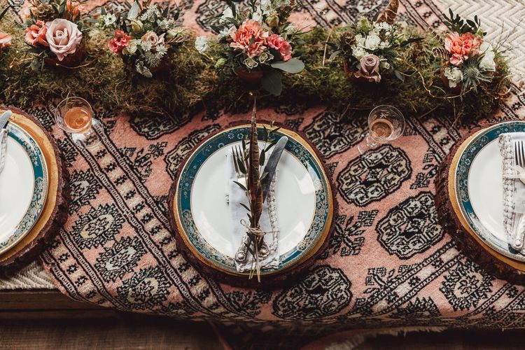 Moroccan Rug Table Cloth & Elegant Place Settings | Rustic Luxe Wedding Decor from Little Jem | Lexicon Cards | Country Boho Inspiration in the Woodlands of Happy Valley Norfolk | Cara Zagni Photography