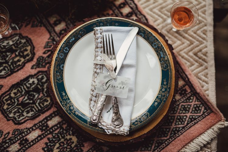Place Settings | Rustic Luxe Wedding Decor from Little Jem | Lexicon Cards | Country Boho Inspiration in the Woodlands of Happy Valley Norfolk | Cara Zagni Photography