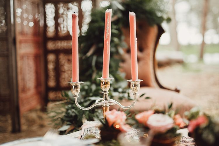 Blush Taper Candles | Rustic Luxe Wedding Decor from Little Jem | Lexicon Cards | Country Boho Inspiration in the Woodlands of Happy Valley Norfolk | Cara Zagni Photography
