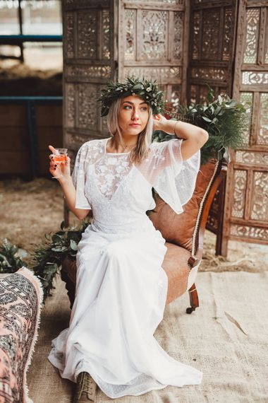 Boho Bride in Embroidered  ASOS Dress & Flower Crown |  Country Boho Inspiration in the Woodlands of Happy Valley Norfolk | Cara Zagni Photography