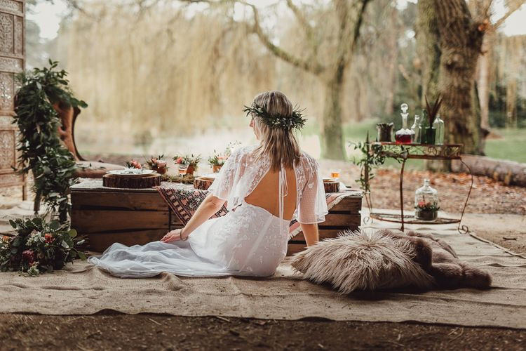 Boho Bride in Backless Embroidered ASOS Dress & Flower Crown |  Country Boho Inspiration in the Woodlands of Happy Valley Norfolk | Cara Zagni Photography