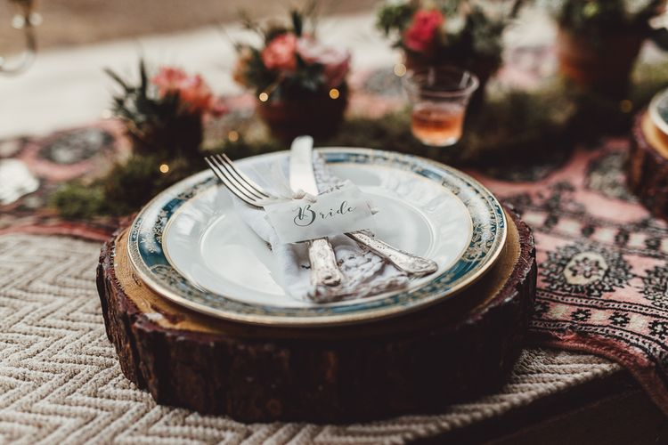 Place Setting | Rustic Luxe Wedding Decor from Little Jem | Lexicon Cards | Country Boho Inspiration in the Woodlands of Happy Valley Norfolk | Cara Zagni Photography