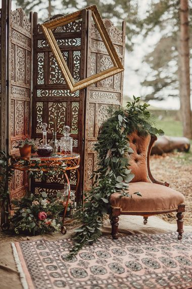 Whiskey Station | Rustic Luxe Wedding Decor from Little Jem | Lexicon Cards | Country Boho Inspiration in the Woodlands of Happy Valley Norfolk | Cara Zagni Photography