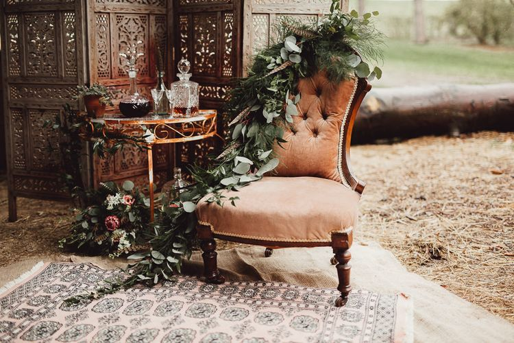 Chair | Whiskey Station | Rustic Luxe Wedding Decor from Little Jem | Lexicon Cards | Country Boho Inspiration in the Woodlands of Happy Valley Norfolk | Cara Zagni Photography