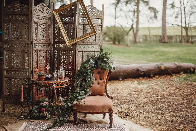 Whiskey Station with Drinks Trolley, Screen & Comfy Chair | Rustic Luxe Wedding Decor from Little Jem | Lexicon Cards | Country Boho Inspiration in the Woodlands of Happy Valley Norfolk | Cara Zagni Photography