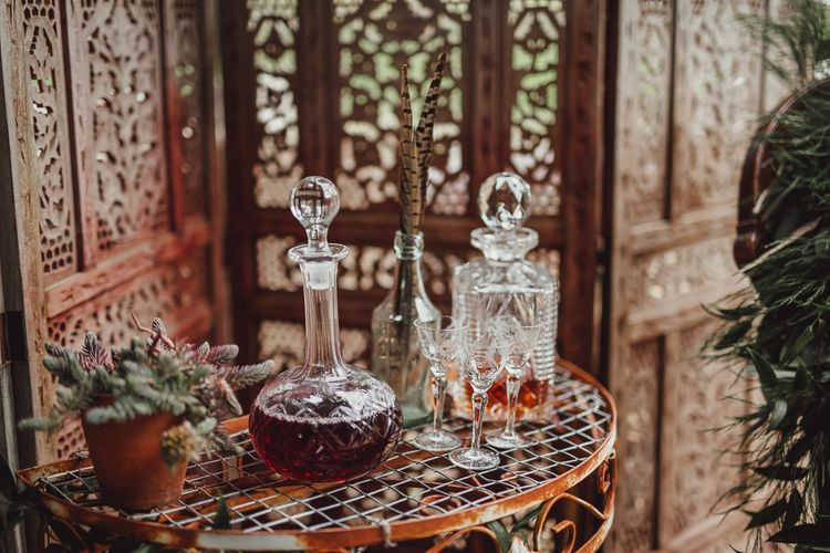 Whiskey Decanters | Rustic Luxe Wedding Decor from Little Jem | Lexicon Cards | Country Boho Inspiration in the Woodlands of Happy Valley Norfolk | Cara Zagni Photography