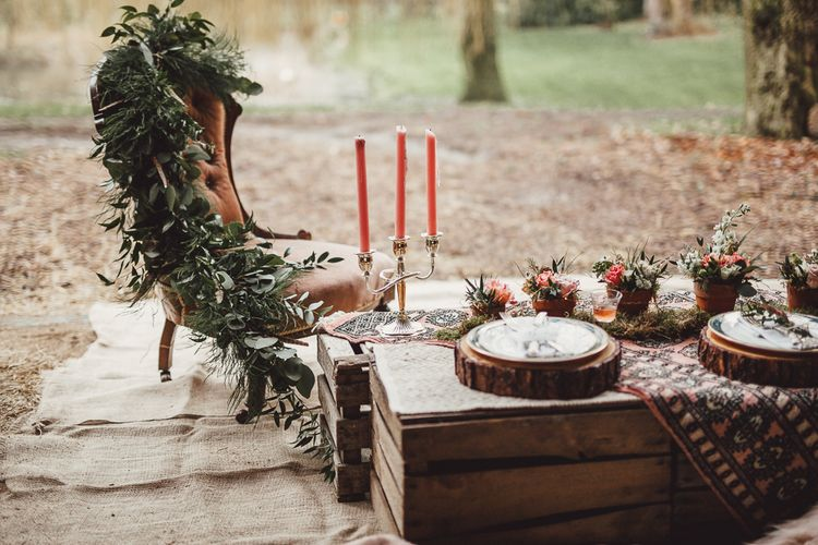 Table Scape | Rustic Luxe Wedding Decor from Little Jem | Lexicon Cards | Country Boho Inspiration in the Woodlands of Happy Valley Norfolk | Cara Zagni Photography