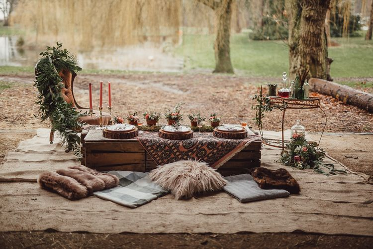 Intimate Tablescape | Rustic Luxe Wedding Decor from Little Jem | Lexicon Cards | Country Boho Inspiration in the Woodlands of Happy Valley Norfolk | Cara Zagni Photography