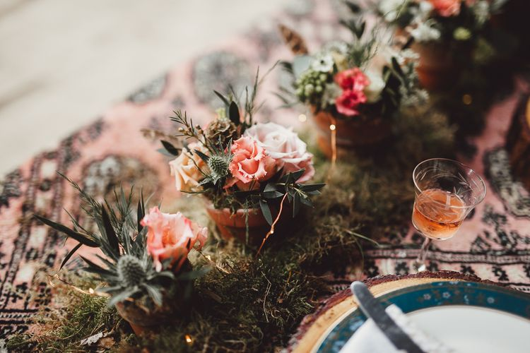 Foliage, Coral Flowers & Pheasant Feather Arrangements | Country Boho Inspiration in the Woodlands of Happy Valley Norfolk | Cara Zagni Photography