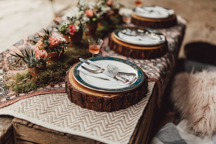 Tree Slice Place Settings | Rustic Luxe Wedding Decor from Little Jem | Lexicon Cards | Country Boho Inspiration in the Woodlands of Happy Valley Norfolk | Cara Zagni Photography