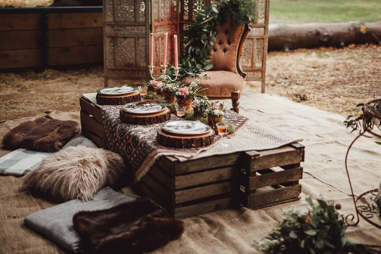 Intimate Wooden Crate Tablescape | Rustic Luxe Wedding Decor from Little Jem | Lexicon Cards | Country Boho Inspiration in the Woodlands of Happy Valley Norfolk | Cara Zagni Photography