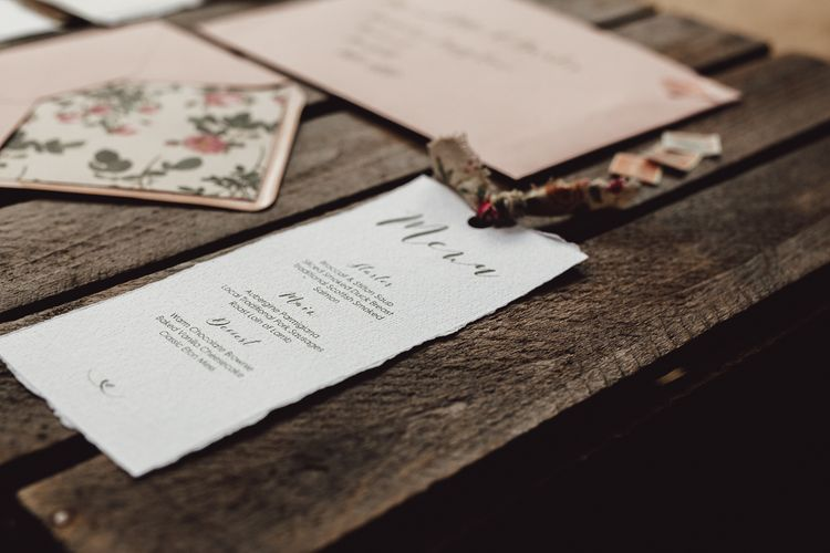 Romantic Pink & Floral Little Pea Designs Wedding Stationery | Country Boho Inspiration in the Woodlands of Happy Valley Norfolk | Cara Zagni Photography