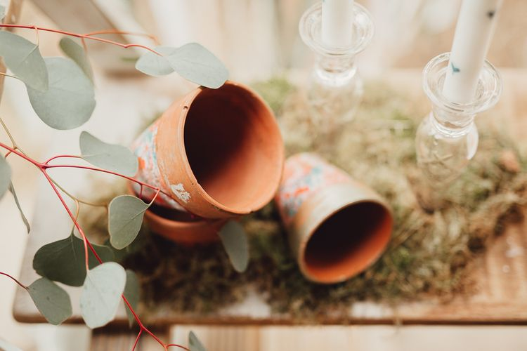 Terracotta Pots | Rustic Luxe Wedding Decor from Little Jem | Country Boho Inspiration in the Woodlands of Happy Valley Norfolk | Cara Zagni Photography