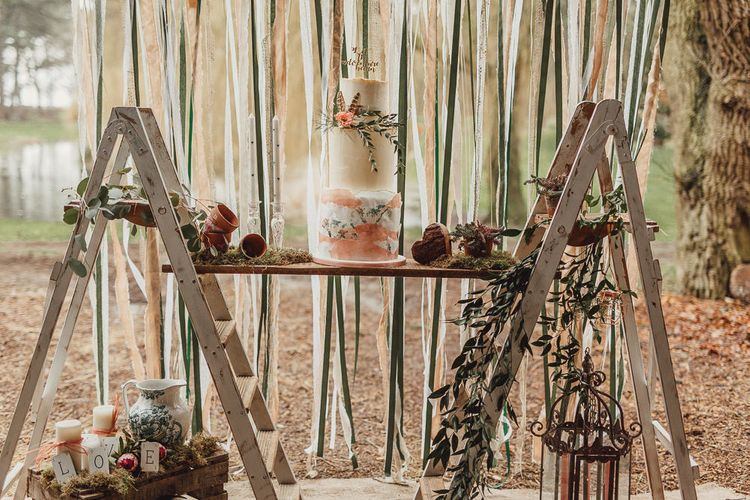 Ellie's Cakery Wedding Cake Table | Rustic Luxe Wedding Decor from Little Jem | Country Boho Inspiration in the Woodlands of Happy Valley Norfolk | Cara Zagni Photography