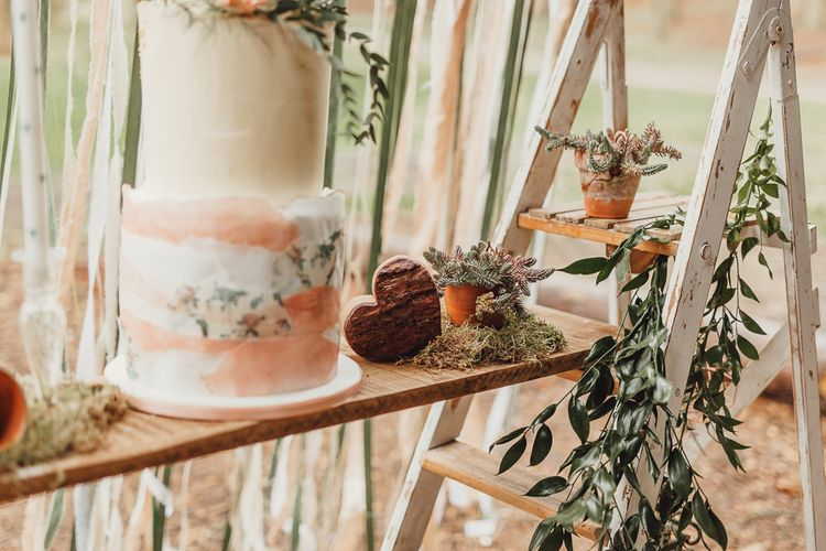 Ellie's Cakery Wedding Cake | Rustic Luxe Wedding Decor from Little Jem | Country Boho Inspiration in the Woodlands of Happy Valley Norfolk | Cara Zagni Photography
