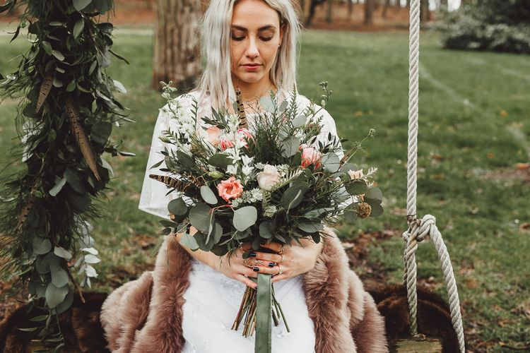 Boho Bride in ASOS Dress | Foliage, Coral Flowers & Pheasant Feather Bouquet | Country Boho Inspiration in the Woodlands of Happy Valley Norfolk | Cara Zagni Photography