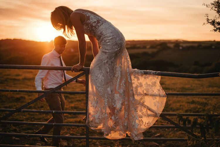 Bride in Made with Love 'stevie' gown Sunset Shot at Launcells Barton Cornwall Wedding Venue Images by McGivern Photography