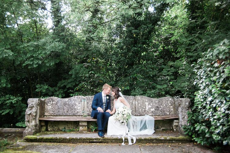 Jenny Packham Bride with flowers by Floribunda Rose at Hampton Manor image by Xander and Thea Wedding Photography