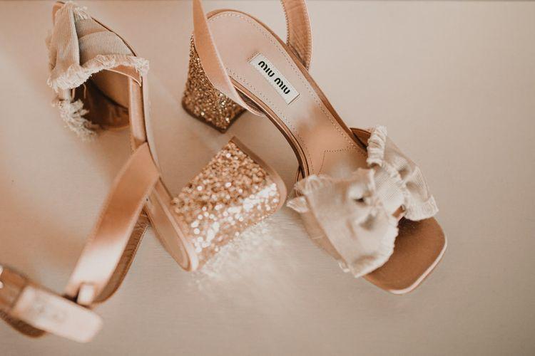 Blush Miu Miu wedding shoes for Italian Wedding