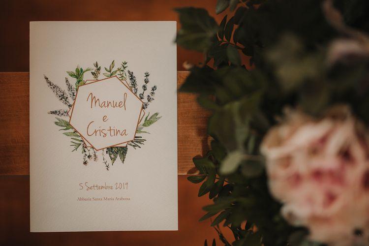 Wedding stationery with foliage detail