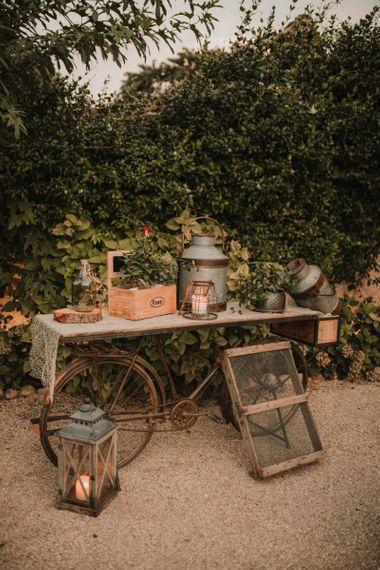 Rustic wedding decor at Italian wedding